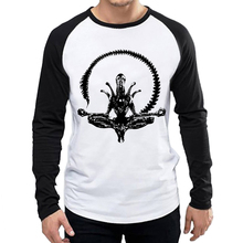 Mens Alien vs Predator T Shirt White Color Fashion Long Sleeve Movie  AVP T-shirt Tops Tees tshirt