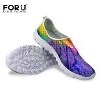 New Designs Women Breathable Mesh Shoes Casual Flats Shoes Zapatos Mujer Female Platform Lightweight Footwear Graffiti