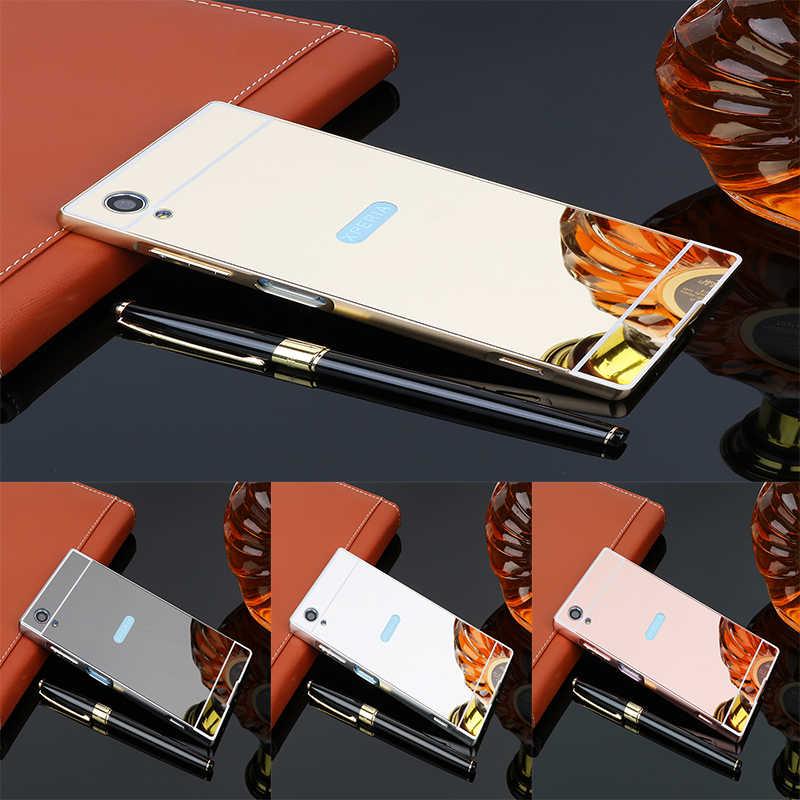 Coques de luxe en or Rose miroir pour Sony Xperia xa1 plus cadre en aluminium coque arrière en métal pour Sony Xperia XA 1 Plus