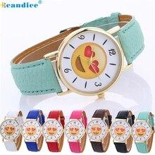 Hcandice ladies watches Impartial Cute Expression Trend Leather-based Quartz Wrist Watch Good present Mar23