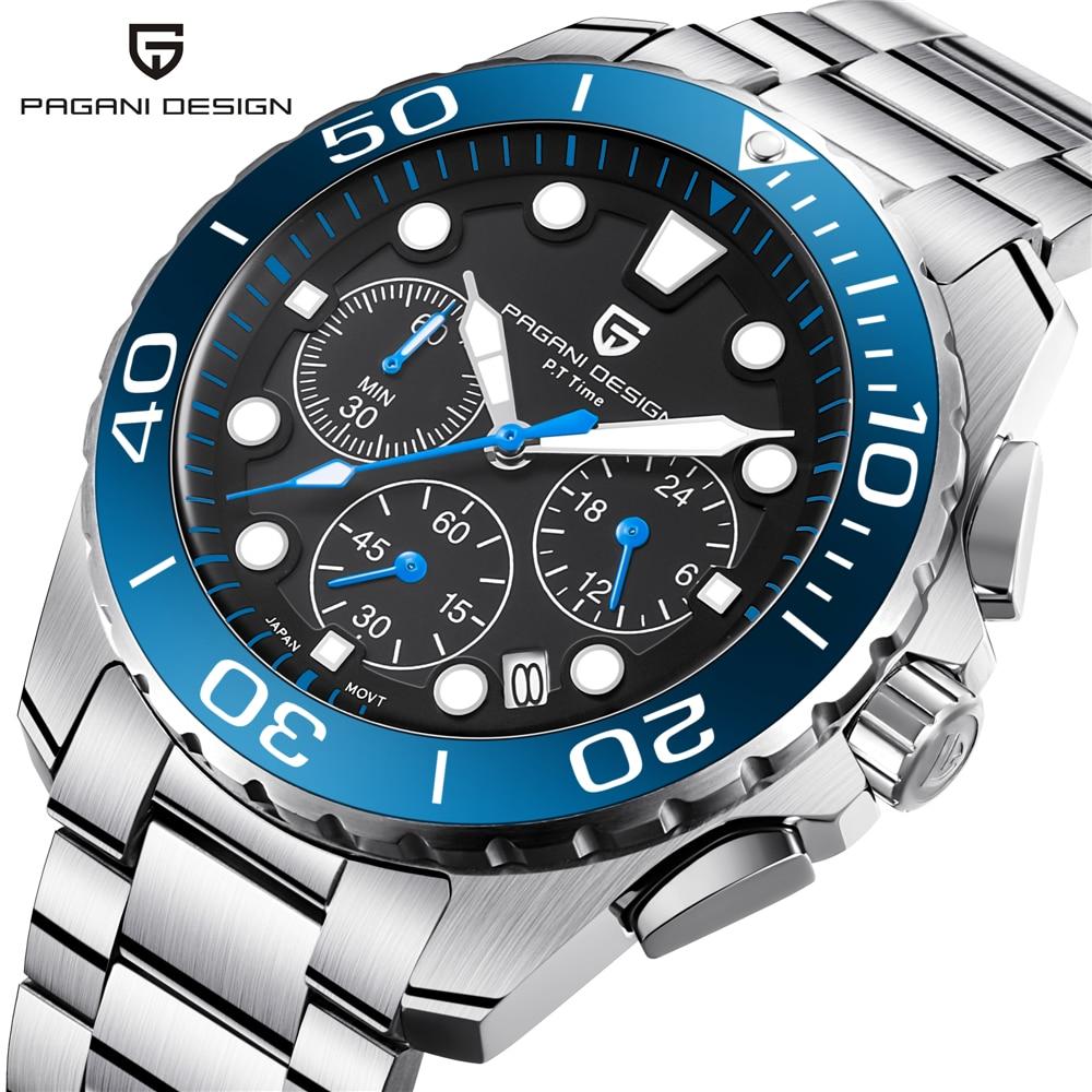 ef9f4a5e281 PAGANI PROJETO Chronograph Em Aço Inoxidável relógios de Pulso de Quartzo  Militar Assista Men Top Luxo