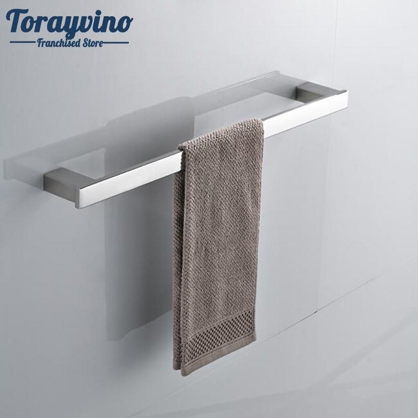 Torayvino Chrome Finish Swivel Stainless Steel Wall Hanging Bathroom Towel Rail Holder Rack Shelf Single Bar sucker bathroom towel rack stainless steel bar folding frame multi pole hanging