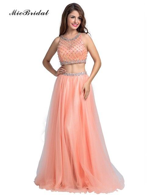 88f057f19 MicBridal Coral Tulle Two Piece Prom Dresses 2016 Abiti Da Cerimonia Da  Sera MX-073 A Line Beaded Women Formal Dresses