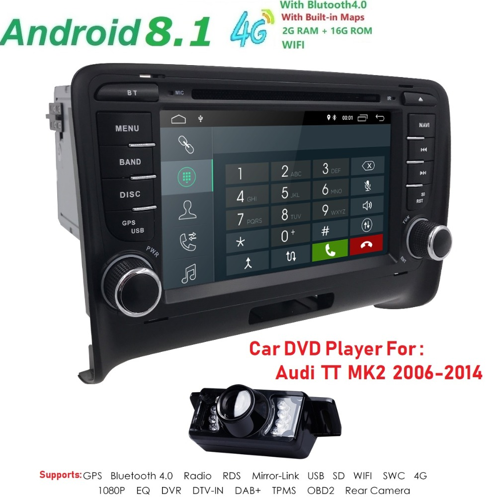 7 IPS screen Quad core 2G RAM Android 8.1 Car Dvd player for Audi TT MK2 2006-2014 USB DAB+ WIFI Free rear camera Mirror link  7 IPS screen Quad core 2G RAM Android 8.1 Car Dvd player for Audi TT MK2 2006-2014 USB DAB+ WIFI Free rear camera Mirror link
