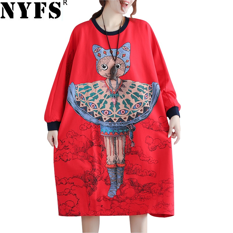 Dresses Independent Nyfs 2019 New Autumn Winter Sweatshirt Dress Cotton Vintage Women Long Dress Loose Large Size Vestidos Robe Elbise