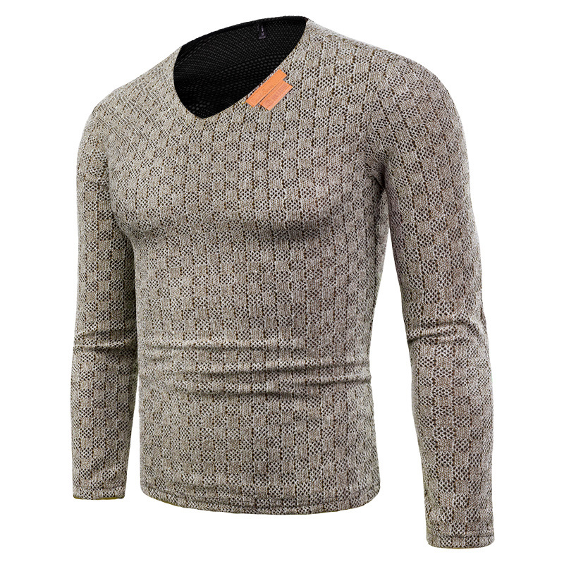 New Men's Fashion V-Neck Knit Sweater Men Long Sleeve Pullover Slim Jumper Knitwear Autumn Winter Sweaters For Men Plus Size 6XL
