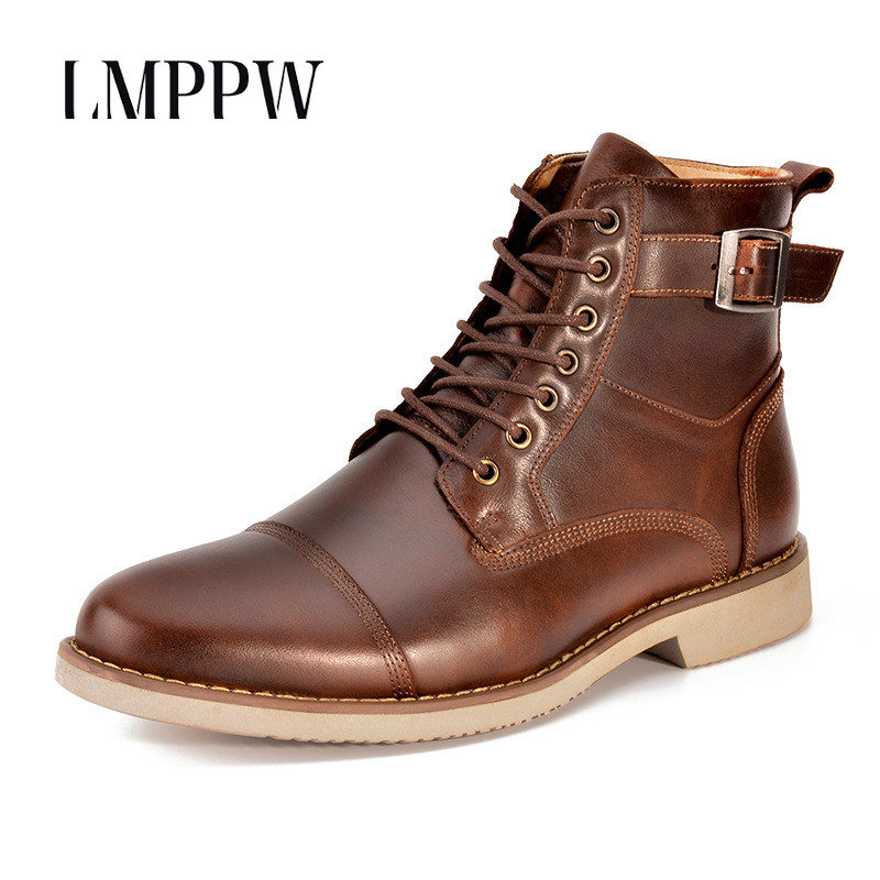 New 2018 Autumn Winter Men's Martin Boots Casual Shoes Luxury Brand Genuine Leather Ankle Boots for Men Riding Boots Black Brown new 2018 men s chelsea boots black color fashion ankle martin boots luxury brand genuine leather zip men boots casual shoes 8