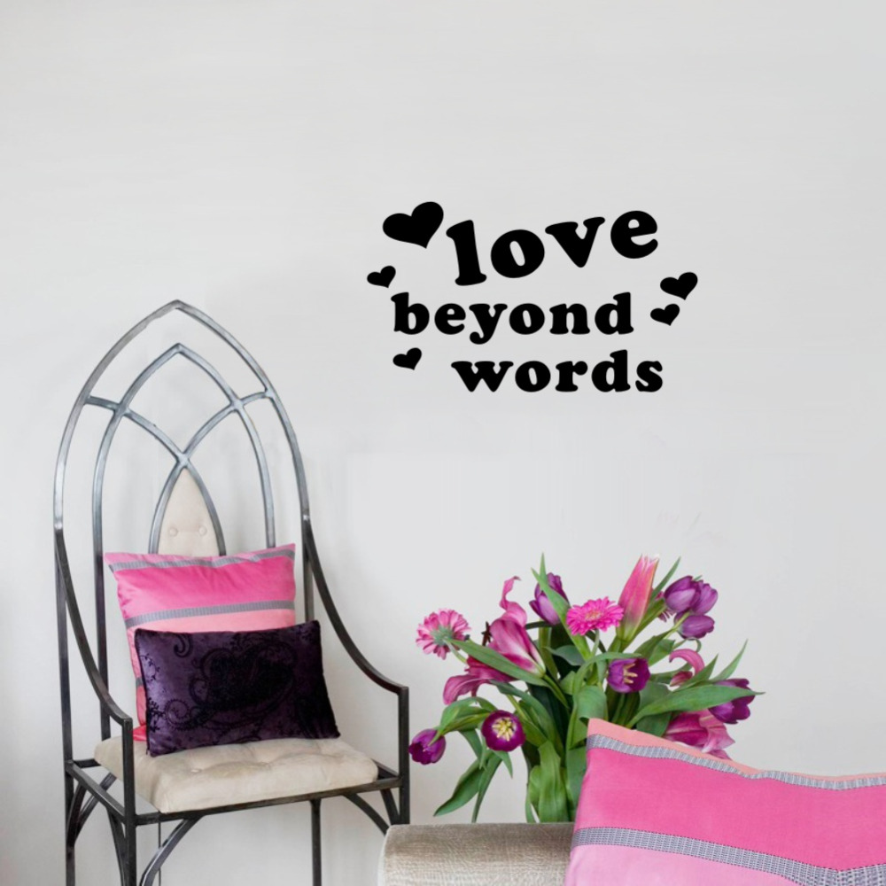 Love Beyond Words Quotes Wall Decals Removable Art Vinyl Wall Stickers for Home Bedroom Decoration