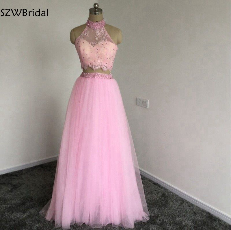 Fashion Crop Top Pink Two piece   Prom     dresses   2019 Lace Beaded Pearls Vestido de festa Party   dress   vestido formatura