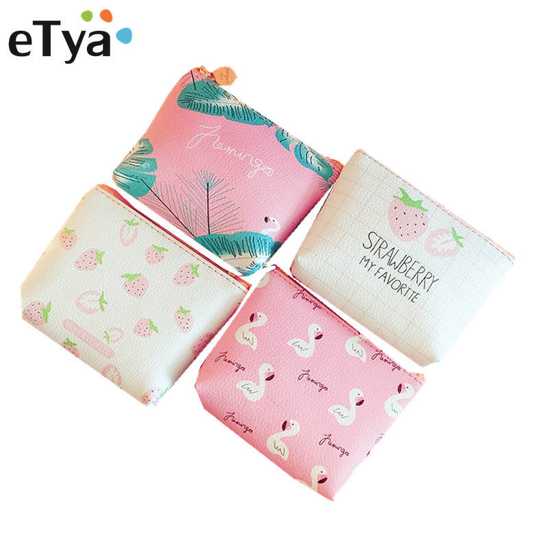 ETya Small Leather Coin Wallet Purse For Women Children Cute Bird Strawberry Mini Zipper Key Money Change Holder Bags Kids Gift