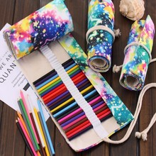 36Holes Folk Style School Pencil Case Escolar Estuche Box Stationery Estojo Portable Canvas Pen Roll Up Bag Curtain Pencils