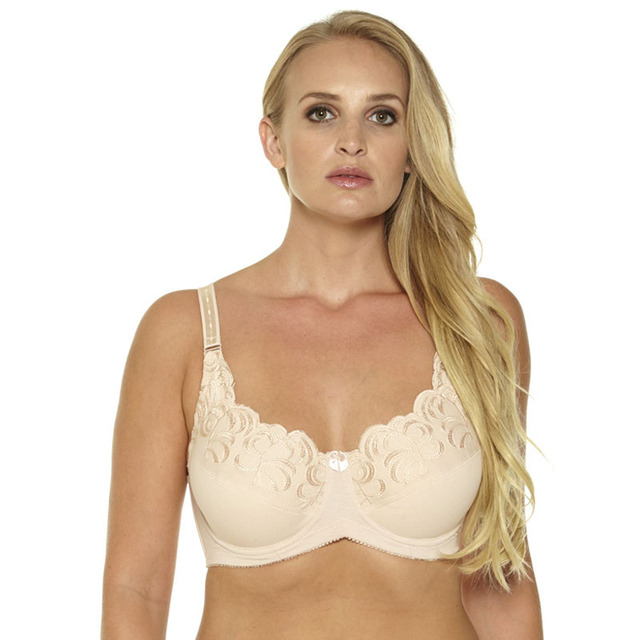 6e3677e28f2d7 Women Unlined Full Coverage Bras Plus Size Brassiere Embroidery No-padded  Bra Underwire Bralette Underwear 36-46C D DD DDD E F G