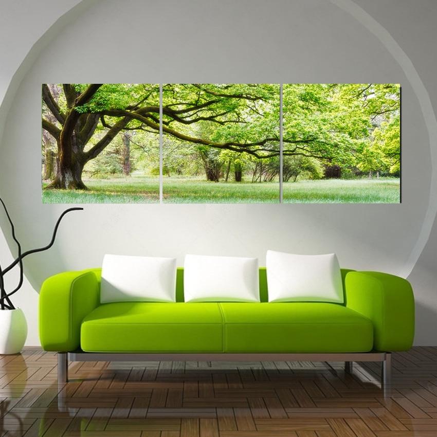 4 panele Oprawione zielone drzewo Malarstwo Nowości Druk Obrazy - Wystrój domu - Zdjęcie 3