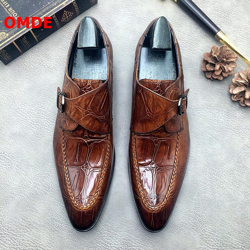 OMDE New Fashion Genuine Leather Crocodile Pattern Pointed Toe Men Dress Shoes Slip On Monk Strap Wedding Shoes Formal Shoes
