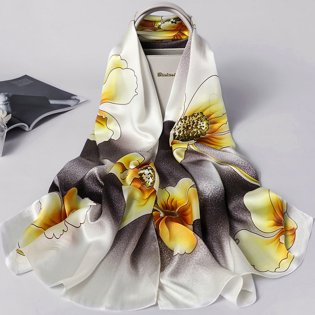 Women Summer Silk Shawls Long Size Scarves Ladies Printing Scarf Wrap Bandana Beach Stoles
