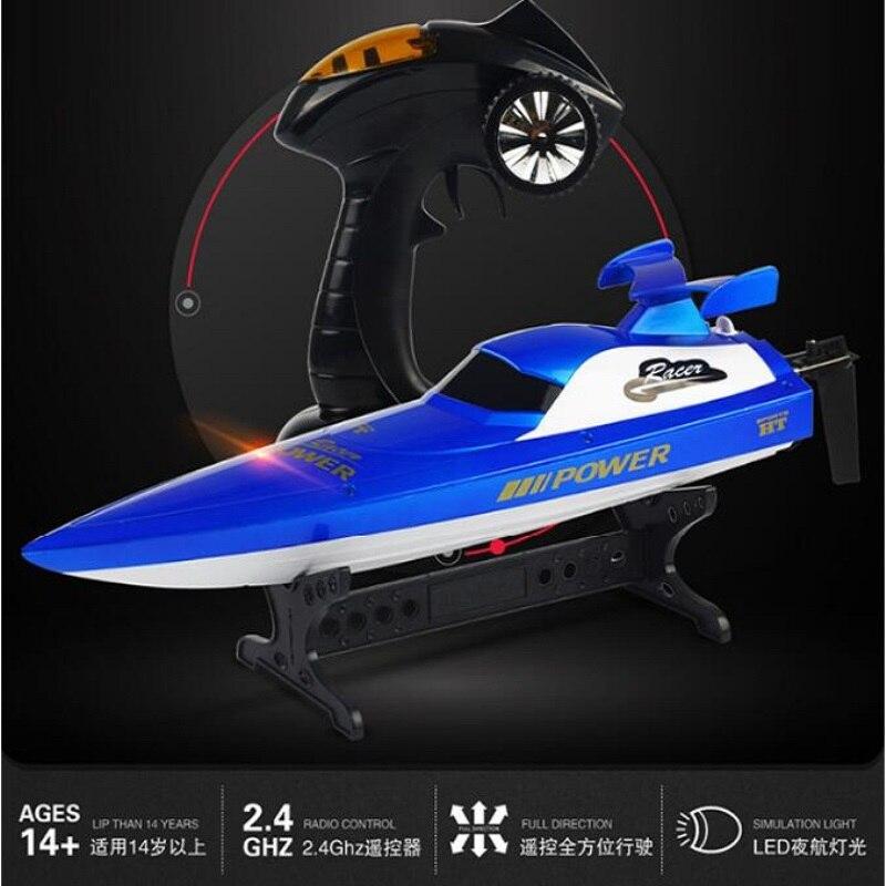 Bateau télécommandé de course à grande vitesse bateau Rc bateau 2.4G 30-40 KM/H lumière LED waterproof 48 cm grand bateau jouet électrique