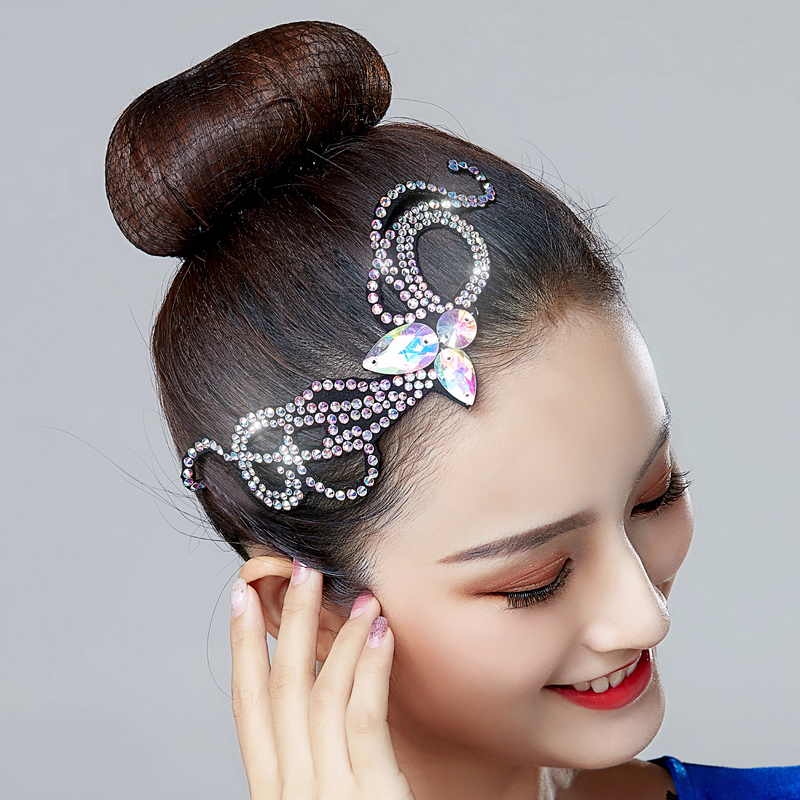 Latin Dance Accessories Women Colorful Crystal Rhinestones Hair Accessories Girls Competition Performance Dancewear DNV11220