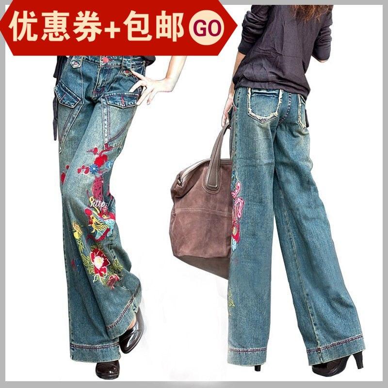 شحن مجاني 2019 جديد الأزياء السراويل الطويلة للنساء التطريز زهرة السراويل زائد حجم الدنيم واسعة الساق الجينز الإناث جيوب-في جينز من ملابس نسائية على  مجموعة 1