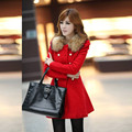 2016 осень и зима тонкий женщин шерстяное пальто верхней одежды женщин средней длины траншеи сладкий опрятный стиль меховой воротник случайные куртка 19