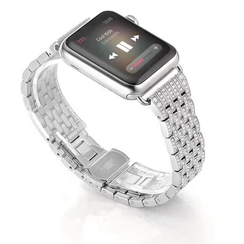 Bracelets de montre diamant strass série 5/4/3/2/1 Bracelet en acier inoxydable pour bracelets de montre Apple 38mm 42mm 40mm 44mm - 3