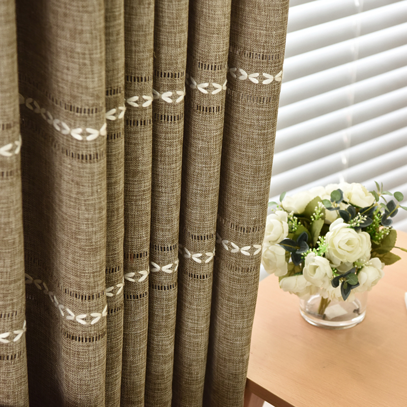 Modern Solid Curtains For Living Room Faux Linen Curtains For Bedroom Window Blinds