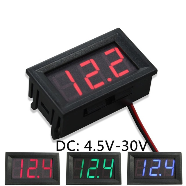 2 Wires 0.56 inch Digital Voltmeter 4.5-30V/ DC4.5-30V Blue LED Vehicles Motor Volt Voltage Panel Meter LED Voltmeter Tools