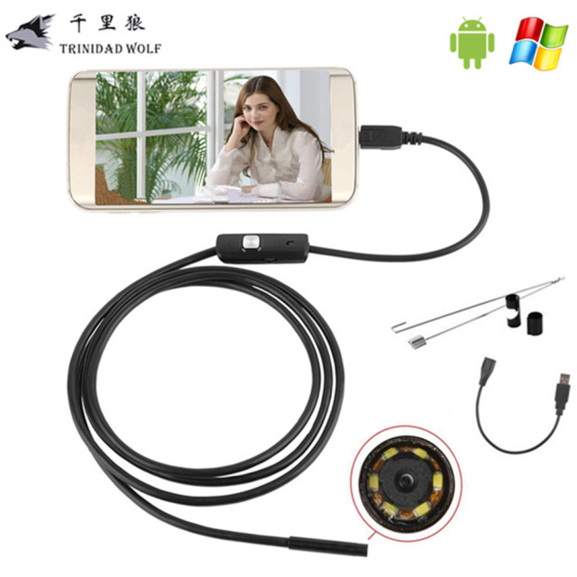 TRINIDAD WOLF 1M/2M/5M 5.5mm Endoscope Camera USB Android Endoscope Waterproof 6 LED Borescope Inspection Camera For Android PC