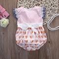 Bonito Bebê Recém-nascido Meninas Outfits Bebê Roupas Bodysuits Roupas Rendas Sem Mangas Bodysuit Macacão de Algodão
