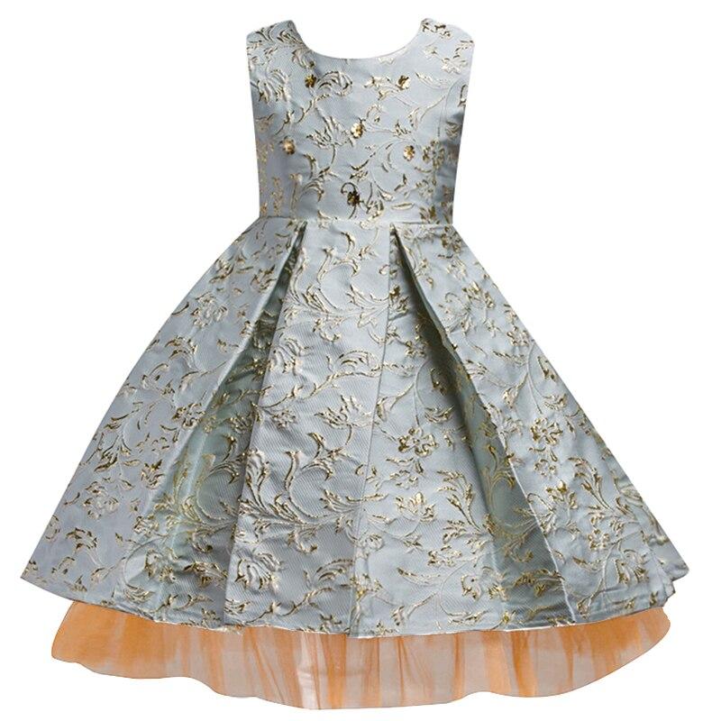 5a6807588d2f5 Jolie dentelle dorée broderie fleur fille robes 2019 genou longueur filles  robe de reconstitution historique enfants robes de soirée de luxe Communion  robe ...