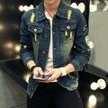 Novos Homens Jaqueta de Jeans Buraco Moda Outono Sólida Chaquetas Hombre Masculino Slim Fit Denim Jeans Jaquetas Jeans Casual Roupas 3XL
