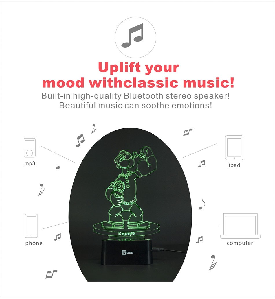 CNHIDEE Lampada Decorativa USB Desk 3D Night Lamp Bluetooth Music Led Table Lamp as Creative Gifts for Cartoon Popeye Fans (3)