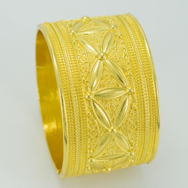 Diâmetro 6 cm, amarelo Banhado A Ouro Pulseira para As Mulheres, Etíope Big Pulseira, Jóias Africano Noiva Presente de Casamento Árabe Item #040806