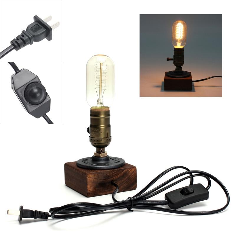 Retro Style Vintage Industrial Single Socket Table Desk Lamp Wooden Base  Light Bulb Included Home Shop Decoration New
