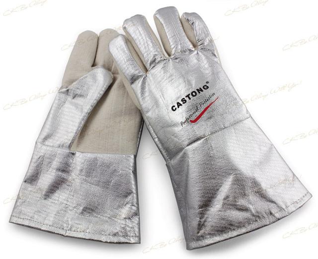 300-400 grados calefacción industrial guantes de alta temperatura guantes de fuego CKS-NFRR15-34