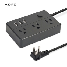 portable power strip with 3 outlet surge protector and USB charging ports for bedside table, desktop, home, office, travel