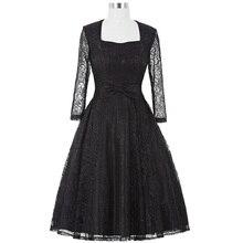Womens Elegant Vintage black Lace sleeve Plus Size 50s Dresses Spring Autumn Party vestidos Retro robe Rockabilly Club Dress