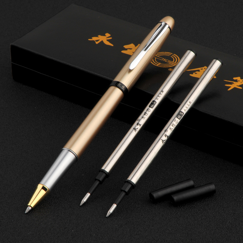 Gold and Silver Wingsung 9116 Roller Ball Pens Set with Replace Refills Smooth Writing Metal Business Signature/Ballpoint Pen advanced roller ball pen jinhao chinese dragon bronze white with black heavy gife pen
