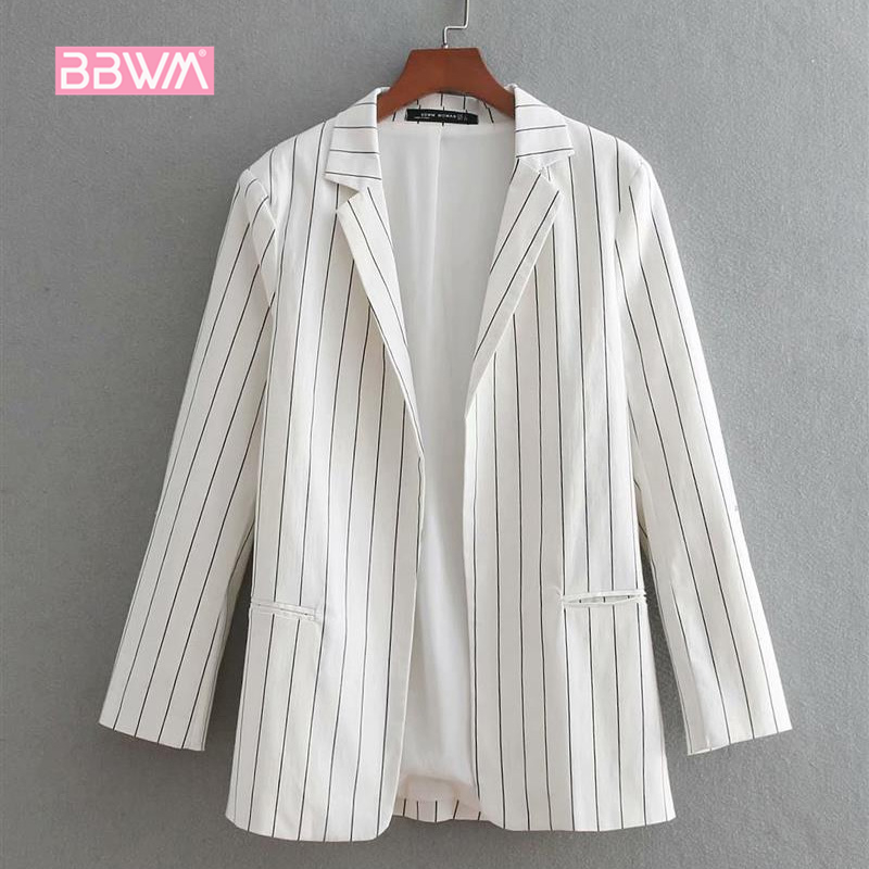 Elegant Women's 2018 Summer New Fashion Vertical Stripes Lapel Open Seven Sleeves Small Suit Jacket Female