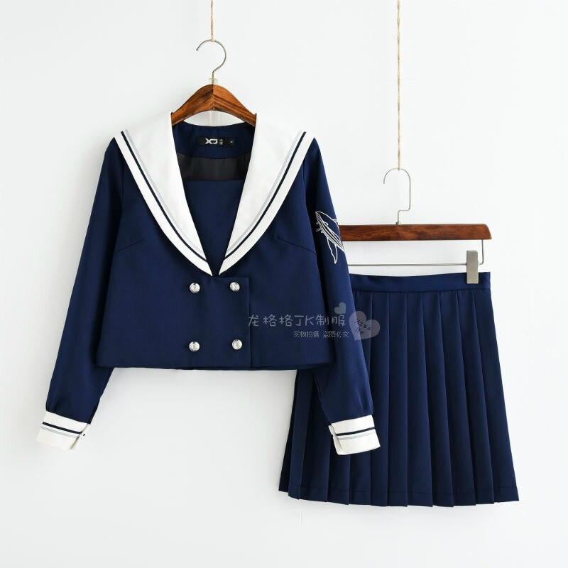 Long Sleeve Japanese JK Sets School Uniform Girls Deep Sea Whale Spring Autumn High School Women Novelty Sailor Suits Uniforms