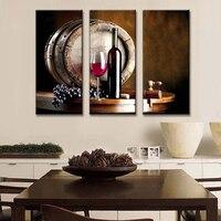 3 יח'\סט עדיין חיים קיר אמנות יין ופירות עם זכוכית וחבית הדפסת תמונה על בד ציור פירות למטבח דקור