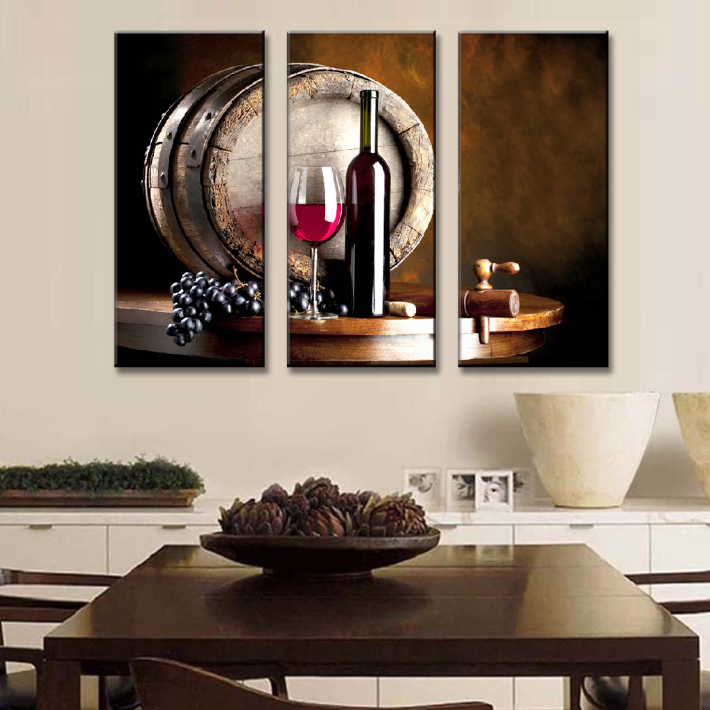 Home Kitchen Decor Picture Fresh Fruit Salad Wall: 3 Pcs/Set Still Life Wall Art Wine And Fruit With Glass