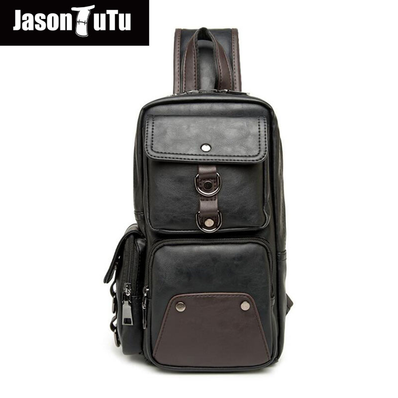JASON TUTU Mens Chest Pack Travel Sling Bags Leather Rucksack Multi-pocket Cool Crossbody Shoulder Bag Black B450