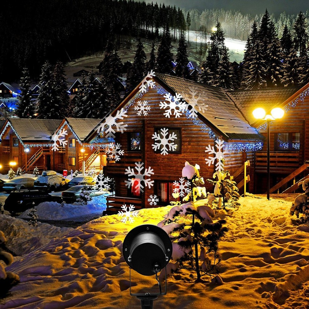 Projection LED Lights Christmas Projection Lamp Aluminum Shell LED Landscape Projector Snowflake Pattern Landscape US EU UK Plug christmas lights holiday led projector outdoor rotating projection snowflake led lights projection lamp christmas decoration