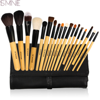 New Professional 18pcs Goat Hair Natural Wood Handle Cosmetic Brush Set