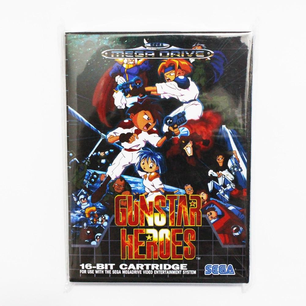 Gun Star Heros Game Cartridge 16 bit MD Game Card With Retail Box For Sega Mega Drive