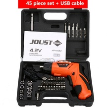 Mini Electric Screwdriver with 45 Bits Drill Cordless Electric Screwdriver Household Rechargeable Screwdriver Battery Power Tool 2016 new 4 8v rechargeable multifunction household electric screwdriver led light set reversible mini electric drill