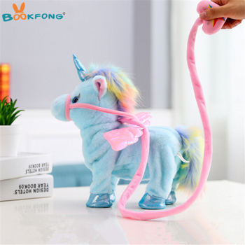 35cm Lovely Electric Walking Unicorn Plush Toy Soft Stuffed Animal Electronic Unicorn Doll Sing the Song for Baby Birthday Gifts best girl toys 2017