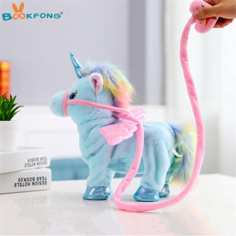 35 cm encantador caminar eléctrica unicornio de peluche de juguete suave Peluche de Animal electrónicos muñeca unicornio cantar la canción de cumpleaños de bebé regalos