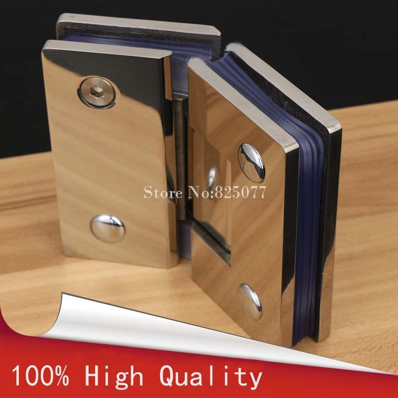 1PCS 135 Degree Wall to Glass Offset Square Geneva Cutout Frameless Shower Door Hinge - Polished Chrome HD22