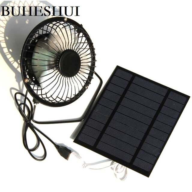 BUHESHUI 4 Inch Cooling Ventilation Fan USB 2.5W 5V  Solar Powered Panel Iron Fan For Home Office Outdoor Traveling Fishing